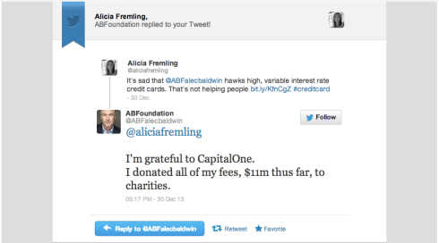 Baldwin responds to Capital One post and defends spokesmanship
